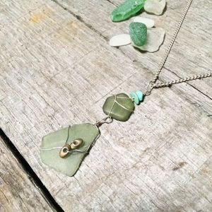 Jewelry - Moss Green Sea Glass Japanese Rainbow Necklace
